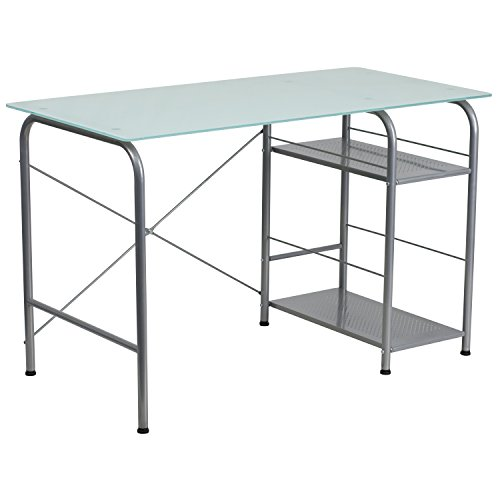 Flash Furniture Glass Computer Desk with Open Storage For Sale