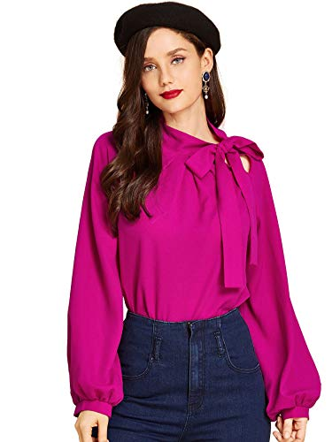 24' Bow Pink (SheIn Women's Side Bow Tie Neck Long Sleeve Pullover Blouse Shirt Top Large Hot Pink)