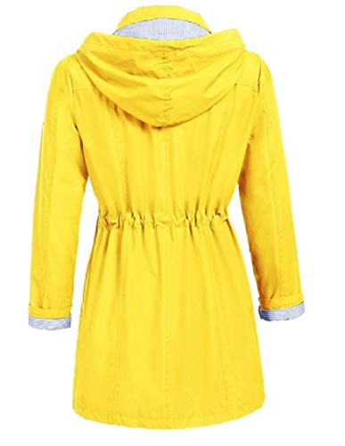 Sportiva Colore Energia Moda Donne Di Cappuccio Giacche Tuta Giallo Casual Delle Metà Della Impermeabile Lunghe Di 76wUH4