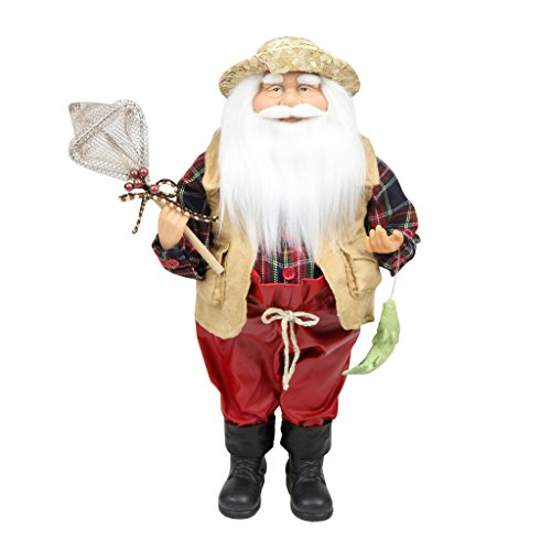 Northlight Rustic Lodge Fisherman Santa Claus with Net and Fish Christmas Tabletop Decoration, 18