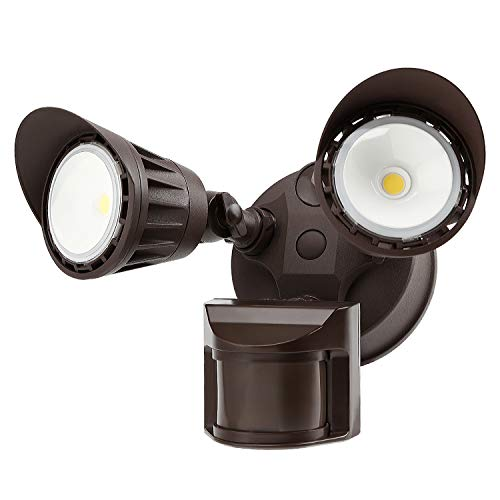 (LEONLITE Dual-Head Motion-Activated LED Outdoor Security Light, Waterproof, Photocell Included, Newly Added DIM Mode, 3000K Warm White, 25W (200W Halogen Eqv.) Area Lighting for Yard, Garage, Bronze)