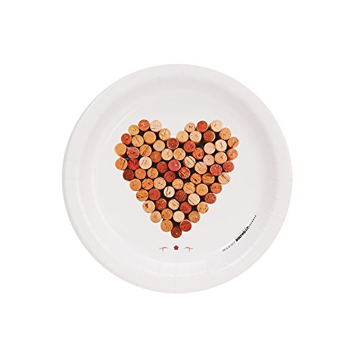 Wine Party Heart of Wine Corks Cocktail Plate -