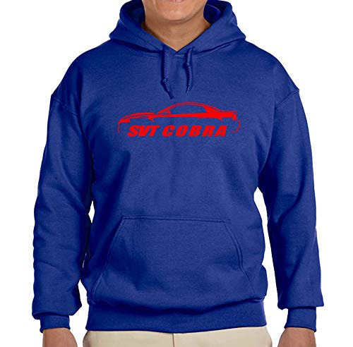 2003 2004 Ford SVT Cobra Mustang Coupe Classic Red Color Outline Design Hoodie Sweatshirt Large Royal