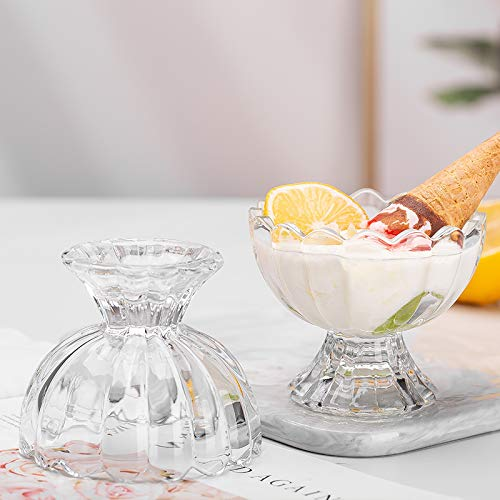 Ducati Fusion Collection Small Stemmed Glass Transparent Dessert Bowl   Set of 6