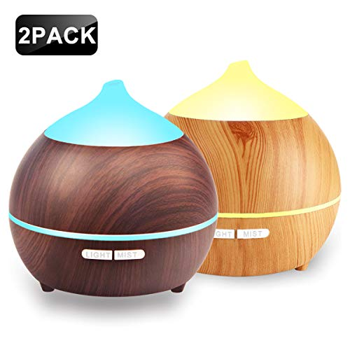 2 PACK Oil Diffuser, 250ml Wood Grain diffuser With 8 Colorful LED Light, Auto Shut Off Cool Mist Humidifier, Adjustable Mode Aroma Diffuser For Baby, Yoga, Spa, Home, Office (2 Pack)