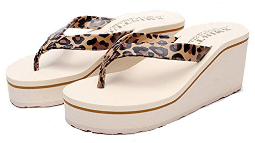 Similpelle Moda Infradito Zeppa Leopardo Spiaggia Night Sandalo Good wSxqEZgcCc