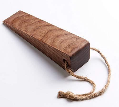 Security Large Soild Wood Door Stopper, Non-Slip Door Stops with Premium Heavy Duty (1 Piece, Walnut)