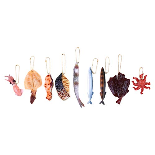 Volity Livoty Pretend Food, 9Pcs Kids Pretend Play Simulation Meat Slice Pendant Keychain Hanging Decoration Creative Funny Toy Gift