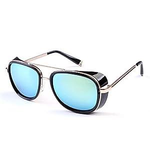 Toping Fine Sunglasses Men/Women Mirrored Designer Brand Glasses Vintage Sun glasses C-61,BlackGold,50Centimeters