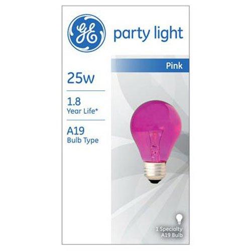 GE Lighting 22730 25-Watt 1900-Lumen Specialty A19 Incandescent Light Bulb, Pink