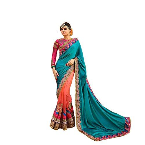 Designer Arbeit Original Ethnic Bollywood Indian Bridal Hochzeit Sari Frauengewand Traditionelle Weiß Sexy 8114