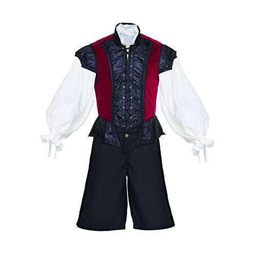 Artemisia Designs Men's Renaissance Plus Size 3 Piece Ren Faire Velvet Doublet Costume GOT Cosplay (4X, Burgundy) -