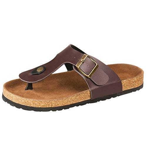 Orthotic Comfort Thong Style Sandals & Flip Flops for Women with Arch Support for Comfortable Walk by FAPIZI Brown ()