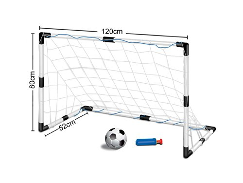 Inside Out Toys Childrens, Kids Football Goal Set - 1 Goals with Nets and Ball SIZE (1.2m wide x 0.8m tall)