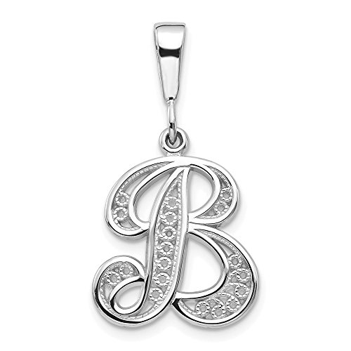 14k White Gold Solid Filigree Initial Monogram Name Letter B Pendant Charm Necklace Fine Jewelry Gifts For Women For Her