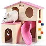 hamster houses - Kathson Pet Small Animal Hideout Hamster House with Funny Climbing Ladder Slide Wooden Hut Play Toys Chews for Small Animals Like Dwarf Hamster and Mouse