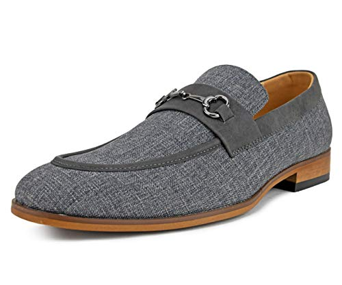 Amali Men's Moc Toe Duel Linen Loafer with Metal Bit and Smooth Trim Slip On Dress Shoe, Style Brisbane Grey (Best Prom Looks Men)