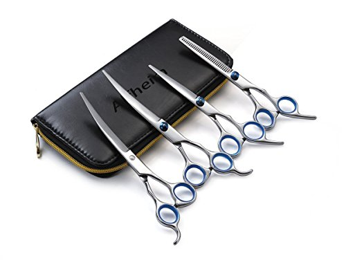 Dog Scissors, Alfheim Professional 4 pieces Pet Hair Grooming Scissors Set