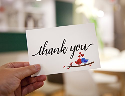 Thank You Note Cards Postcards with Funny Decor Stickers Set - 48 Assorted Bulk Pack Handwritten Greeting Cards - Blank Backside - For Wedding, Baby Shower -Brown Craft Paper Envelopes - 4 x 6 inches Photo #3
