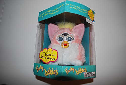 Hasbro PINK AND WHITE W/ YELLOW MOHAWK PEACH FURBY BABY 1999