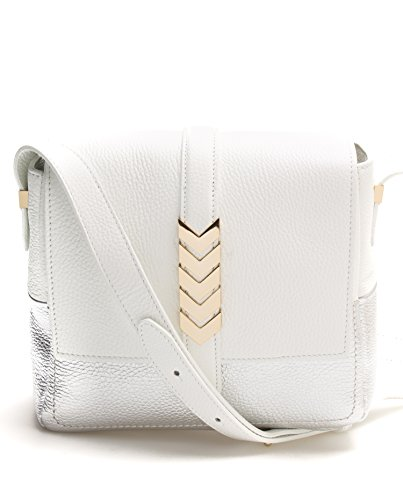 Versace-Collection-Women-Leather-Shoulder-Bag-Goldtone-Chevron-White