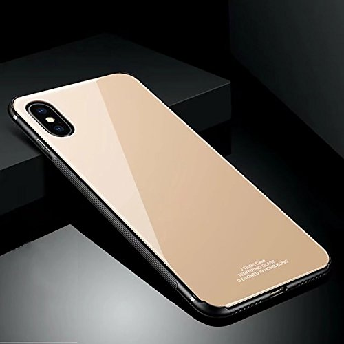 (Hard Rigid Tempered Glass Back Cover for iPhone X, Aearl Pure Color Crystal Clear Rear Back Glass Plastic Interior Dual Layer Anti Slip TPU Silicone Bumper Case Screen Protector for iPhone X -Gold)