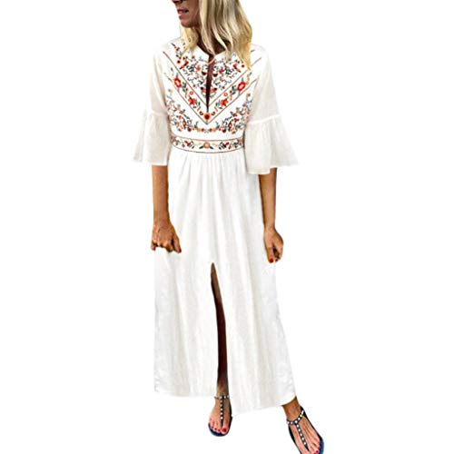 - Sharemen Women's Vintage Ethnic Print O-Neck Dress Flare Sleeve Split Skirt(White,M)