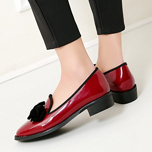 Carolbar Womens Bows Square Toe Retro Casual Low Heels Loafers Shoes Wine Red bzMFf