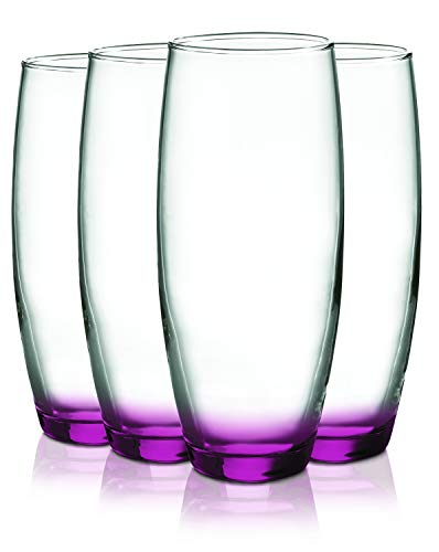 Pink Beverage Stemless Flute Glasses with Beautiful Accent – 9 oz. set of 4- Additional Vibrant Colors Available by TableTop King