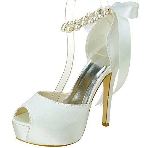 Satin Ankle Bow (Loslandifen Women's Peep Toe Satin Pearls Ankle Strap Ribbon Bow High Heel Wedding Bridal Shoes(3128-22Silk41,Ivory))