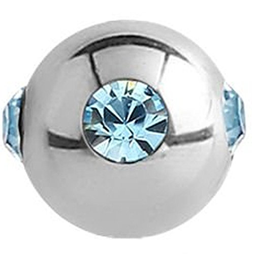 Surgical Steel Jewelled Satellite Micro Ball - Light Blue ()