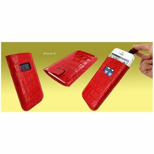 Piel Frama U598COR Krokodil Optik Pull Ledertasche für Apple iPhone 5/5S/5C rot