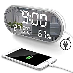 MOONORN LED Digital Alarm Clock, 6.5 Large Digit Mirror Clock Bedroom Nightstand Clock with Temperature Humidity Display, USB Charger Ports, Adjustable Brightness for Travel Home Bedside (White)