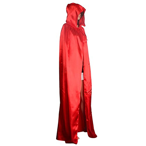 Halloween Cosplay Costumes Party Capes Unisex Christmas Day Hooded Cloak Medieval Cape (Red, -