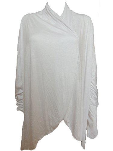 10 Farben Lange Damen Jacke, Gr. 42 44 46 48 50 52 54 Weiß