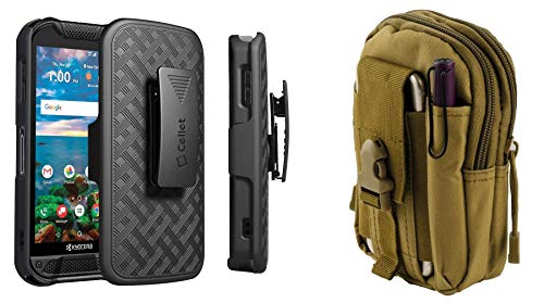 Cellet Rugged Series Compatible with Kyocera DuraForce PRO 2 Case with Heavy Duty Rugged Shell Cover Belt Clip Holster Combo, Tactical MOLLE Carrying Holder Pouch (Khaki) and Atom Cloth