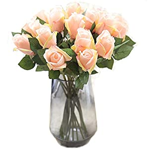 Artfen 10 Pack Artificial Silk Rose Flowers Fake Rose Bouquet Wedding Party Home Decor Approx 15'' High 17