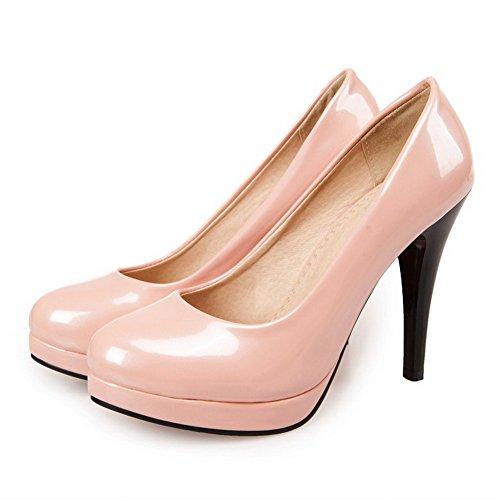 Chaussures Légeres Unie Couleur Rond Femme Verni Stylet Tire Rose AllhqFashion 80SABxH