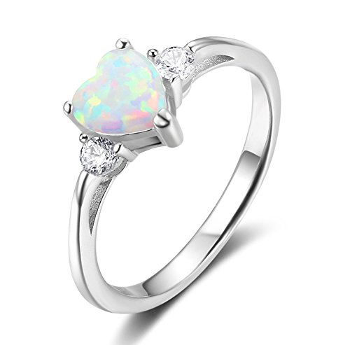 ACEFEEL 925 Sterling Silver Heart Shaped White Opal Engagement Promise Band Ring Size 8 - Gold Opal Heart Ring