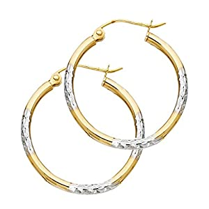 14k Two Tone Gold 1.5mm Thickness Tube Hoop Earrings (16 x 16 mm)