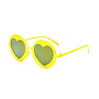 Wang-RX Niños redondos Gafas de sol Niños Chicas AMOR Espejo ...