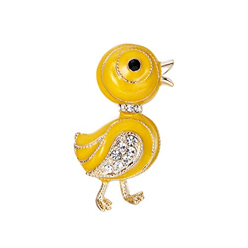 BriLove Lovely Cute Crystal Duck Brooch Pin Yellow Gold-Tone - Gold Tone Duck