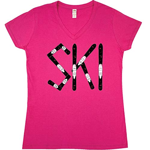 inktastic - Ski Rough Text Junior V-Neck T-Shirt Large Cyber Pink ()