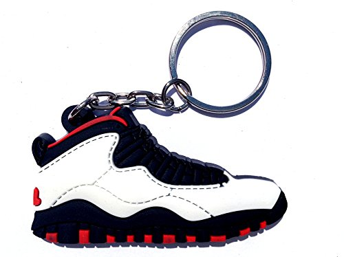 Air Jordan 10/X White/Red/Black Chicago Sneakers Shoes Keychain Keyring AJ 23 Retro