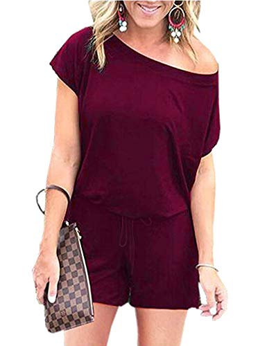 Women's Jumpsuits - Crewneck One Off Shoulder Short Sleeve Elastic Waist Romper Playsuits with Pockets Dxiejian-Wine-L BYF-33