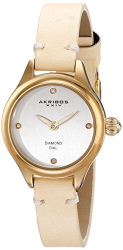 Akribos XXIV Women's AK750YG Gold-Tone Watch with Beige Leather Band