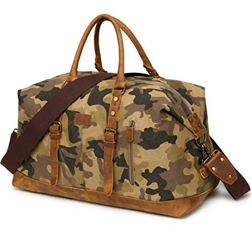 Kemy's Men Canvas Duffle Bags Overnight Weekend Bag for Mens Travel Weekender Duffel Oversized Carryon Bag for Traveling Camo, Easter Gift