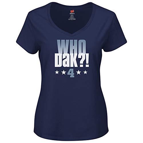 Dallas Football Fans. Who Dak?! Ladies Shirt Navy (Sm-3X)