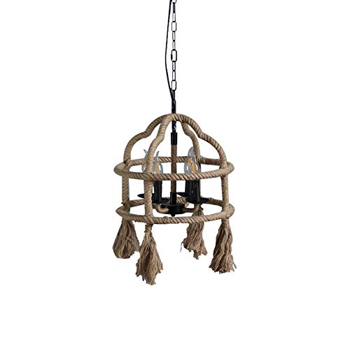 Light Countryside 3 Chandelier - GlanzLight,GL-63307,American Countryside Pendant Light Fixture,Antique Cages Chandelier Light for Dining Hall,Hemp Rope Finish Ceiling Lamp Fixture for Living Room