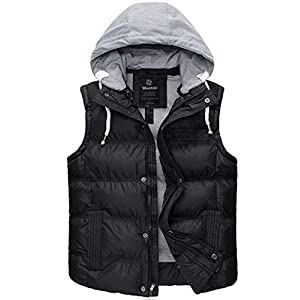 Wantdo Men's Thicken Winter Vest Water-Resistant Puffer Jacket Thicken Vest with Removable Hood